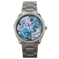 Great Garden Roses Blue Sport Metal Watches
