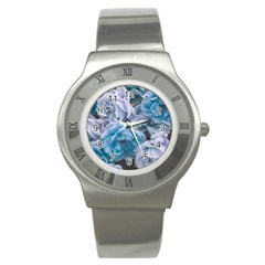 Great Garden Roses Blue Stainless Steel Watches