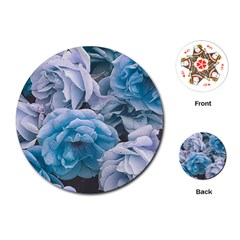 Great Garden Roses Blue Playing Cards (round)