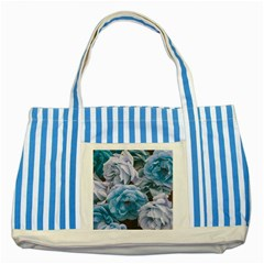 Great Garden Roses Blue Striped Blue Tote Bag