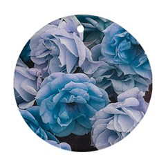 Great Garden Roses Blue Round Ornament (two Sides)