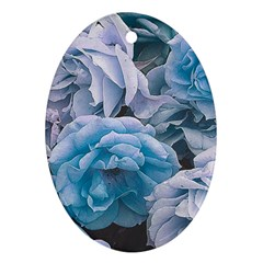 Great Garden Roses Blue Oval Ornament (two Sides)