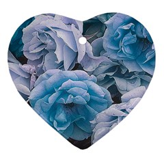 Great Garden Roses Blue Heart Ornament (2 Sides)