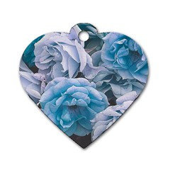 Great Garden Roses Blue Dog Tag Heart (two Sides)