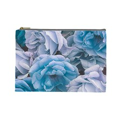 Great Garden Roses Blue Cosmetic Bag (large)