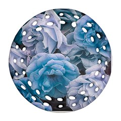 Great Garden Roses Blue Ornament (Round Filigree)