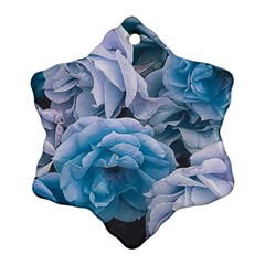 Great Garden Roses Blue Snowflake Ornament (2-Side)