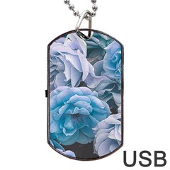 Great Garden Roses Blue Dog Tag USB Flash (Two Sides)