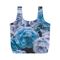 Great Garden Roses Blue Full Print Recycle Bags (m)