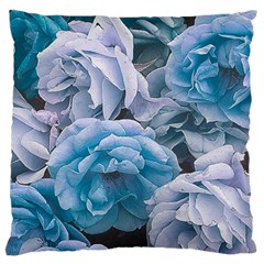 Great Garden Roses Blue Large Flano Cushion Cases (One Side)