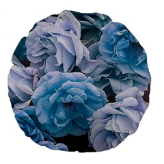 Great Garden Roses Blue Large 18  Premium Flano Round Cushions