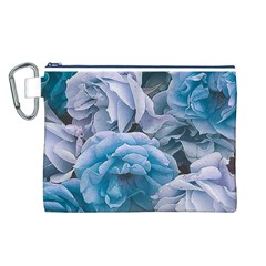 Great Garden Roses Blue Canvas Cosmetic Bag (L)
