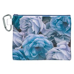 Great Garden Roses Blue Canvas Cosmetic Bag (XXL)