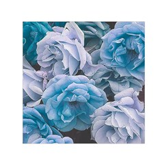 Great Garden Roses Blue Small Satin Scarf (Square)