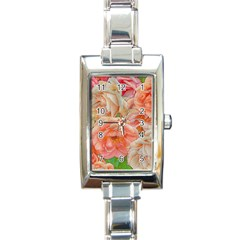 Great Garden Roses, Orange Rectangle Italian Charm Watches