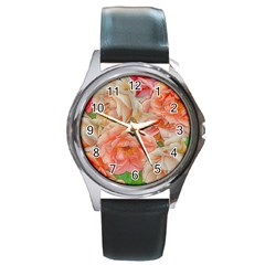Great Garden Roses, Orange Round Metal Watches