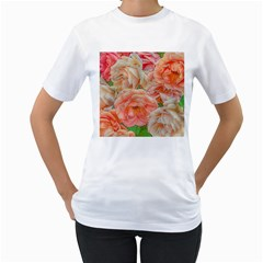 Great Garden Roses, Orange Women s T Shirt (white) (two Sided)