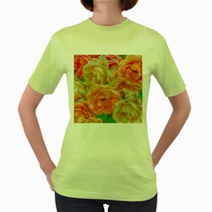 Great Garden Roses, Orange Women s Green T Shirt