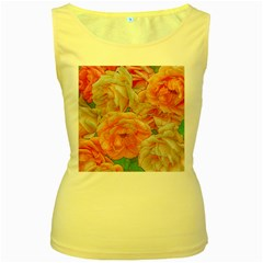 Great Garden Roses, Orange Women s Yellow Tank Tops