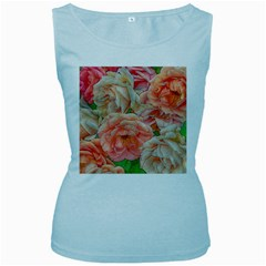 Great Garden Roses, Orange Women s Baby Blue Tank Tops