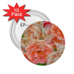 Great Garden Roses, Orange 2 25  Buttons (10 Pack)