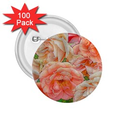 Great Garden Roses, Orange 2 25  Buttons (100 Pack)