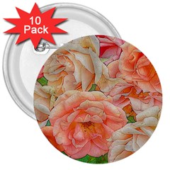 Great Garden Roses, Orange 3  Buttons (10 Pack)