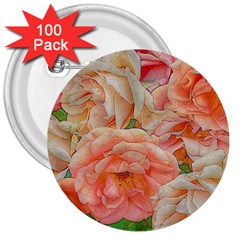 Great Garden Roses, Orange 3  Buttons (100 Pack)