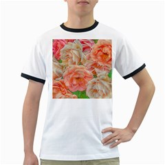 Great Garden Roses, Orange Ringer T-Shirts