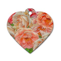 Great Garden Roses, Orange Dog Tag Heart (two Sides)