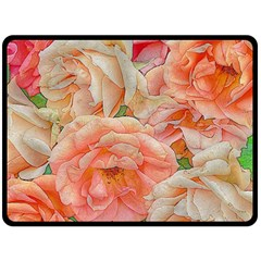 Great Garden Roses, Orange Fleece Blanket (large)