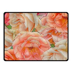 Great Garden Roses, Orange Fleece Blanket (small)