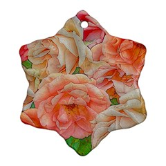 Great Garden Roses, Orange Snowflake Ornament (2-Side)