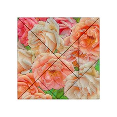 Great Garden Roses, Orange Acrylic Tangram Puzzle (4  x 4 )