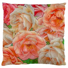 Great Garden Roses, Orange Large Flano Cushion Cases (two Sides)