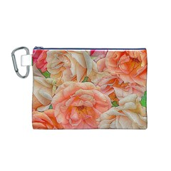 Great Garden Roses, Orange Canvas Cosmetic Bag (M)