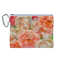 Great Garden Roses, Orange Canvas Cosmetic Bag (l)