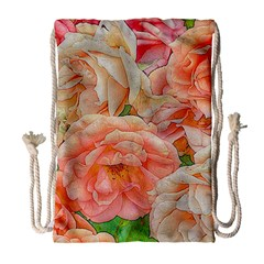 Great Garden Roses, Orange Drawstring Bag (Large)