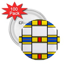 Colorful Squares And Rectangles Pattern 2 25  Button (100 Pack)