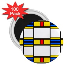 Colorful Squares And Rectangles Pattern 2 25  Magnet (100 Pack)