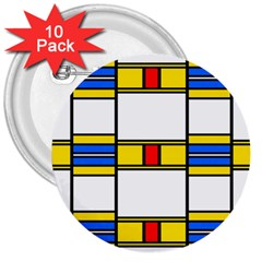 Colorful Squares And Rectangles Pattern 3  Button (10 Pack)