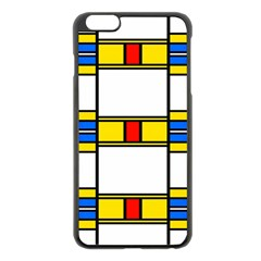 Colorful Squares And Rectangles Pattern Apple Iphone 6 Plus Black Enamel Case