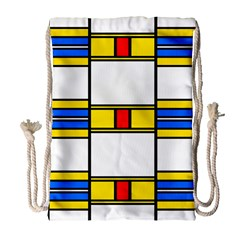 Colorful squares and rectangles pattern Large Drawstring Bag