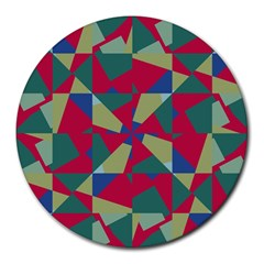 Shapes In Squares Pattern Round Mousepad