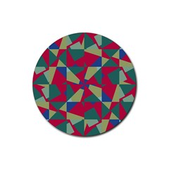 Shapes In Squares Pattern Rubber Coaster (round)