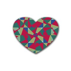 Shapes In Squares Pattern Heart Coaster (4 Pack)