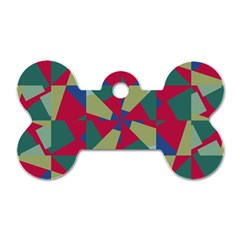 Shapes In Squares Pattern Dog Tag Bone (two Sides)