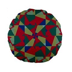 Shapes In Squares Pattern Standard 15  Premium Round Cushion