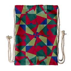 Shapes in squares pattern Large Drawstring Bag