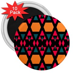 Rhombus And Other Shapes Pattern 3  Magnet (10 Pack)